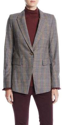 Lafayette 148 New York Heather One-Button Eloquent Plaid Jacket
