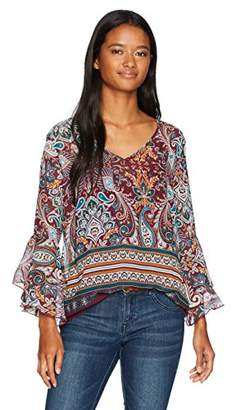 Amy Byer A. Byer Junior's Border Print Bell Sleeve V-Neck Top