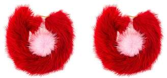 Wild And Woolly red rendezvous fur earrings