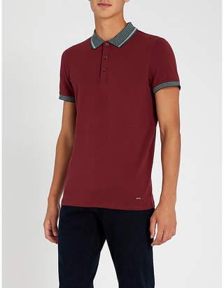 BOSS Contrast-collar stretch cotton-piqué polo shirt