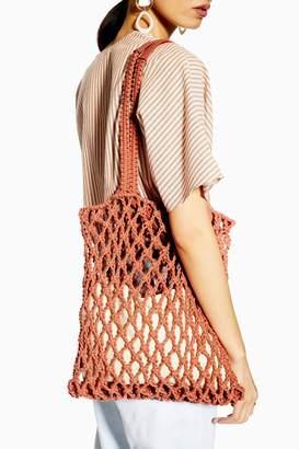 Topshop Womens Saona Coral String Tote Bag - Orange