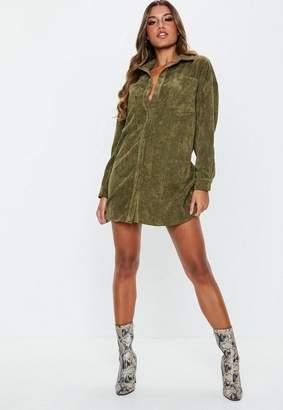 Missguided Petite Khaki Oversized Cord Shirt Dress