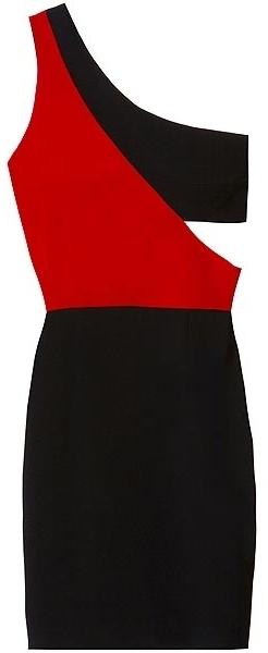 Black Halo Kylie Colorblock Mini In Black/scarlet