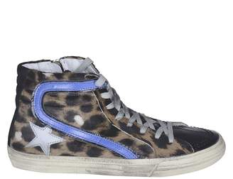 Golden Goose High-cut Leopard Superstar Sneakers