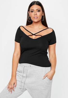 Missguided Curve Black Strap Detail Off Shoulder T Shirt