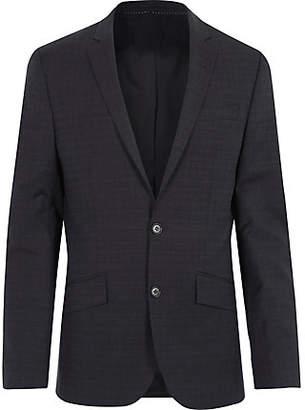 River Island Mens Navy subtle grid print slim suit jacket