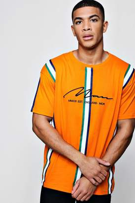 boohoo MAN Signature Embroidered Stripe Loose Fit T-Shirt