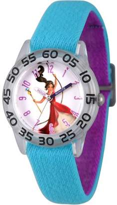 Disney Elena of Avalor Girls' Clear Plastic Time Teacher Watch, Reversible Blue and Purple Nylon Strap