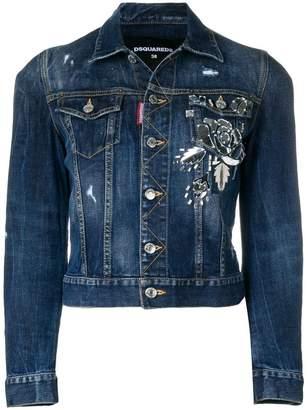 2f76e46e3246 at Farfetch · DSQUARED2 embellished denim jacket