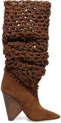 Saint Laurent Niki Crocheted Suede Knee Boots - Light brown