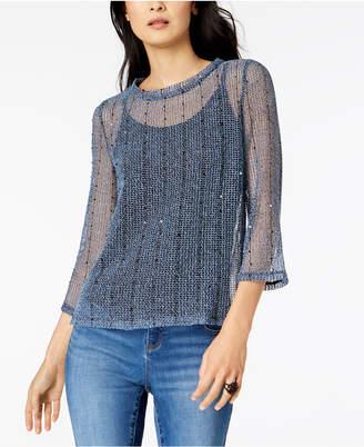 INC International Concepts I.n.c. Petite Sequin Knit Top