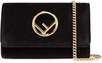 Fendi Velvet Shoulder Bag - Black