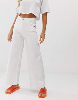 Love Moschino white wide leg jeans