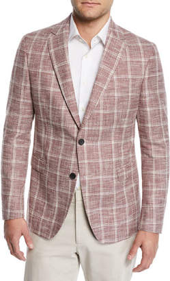 BOSS Men's Cotton/Linen Windowpane Sport Coat