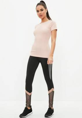 Missguided Active Black Fishnet Insert Leggings