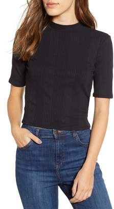 PST by Project Social T Rib Knit Mock Neck Tee