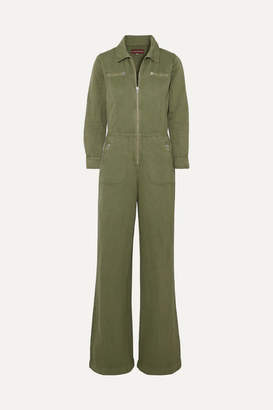 ALEXACHUNG Cropped Cotton And Linen-blend Drill Jumpsuit - Army green