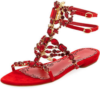 Marchesa Emily Caged Dressy Flat Sandals, Red