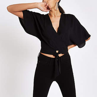 River Island Black tie front kimono sleeve crop top