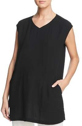 Eileen Fisher Silk V-Neck Tunic Top