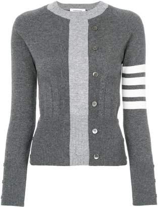 Thom Browne Trompe L'oeil Intarsia Crew Neck Raglan Sleeve Pullover In Medium Grey Cashmere