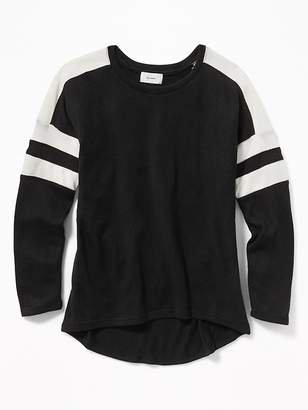 Old Navy Relaxed Striped-Sleeve Scoop-Neck Top for Girls