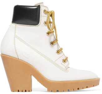 Maison Margiela - Leather Trimmed Nubuck Ankle Boots - White $1,150 thestylecure.com