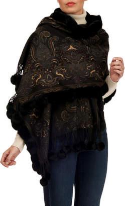 Gorski Double-Face Cashmere Stole w/ Rabbit Fur Pompoms, Black Pattern