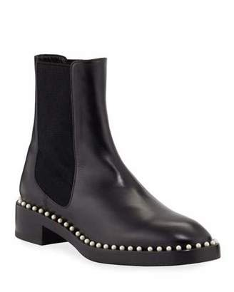 Stuart Weitzman Cline Pearly Studded Leather Booties