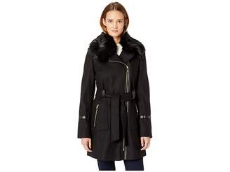 Via Spiga Asymetrical Wool Coat with Faux Fur Collar and Faux Leather Belt Women's Coat