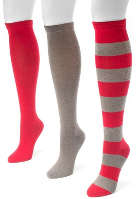 Muk Luks Adult Game Day 3-pk. Knee-High Socks