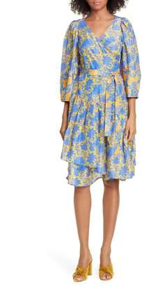 Apiece Apart Meru Bougainvillea Silk Wrap Dress