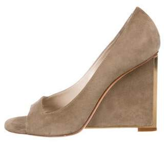 Christian Dior Suede Wedge Pumps Khaki Suede Wedge Pumps