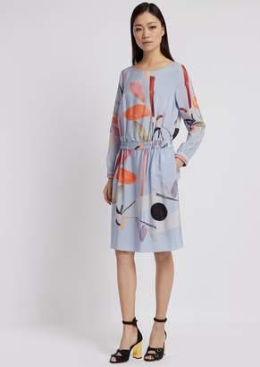 Emporio Armani Silk Crepe Dress Printed With Flower Motif