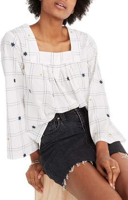 Madewell Embroidered Windowpane Square Neck Button Down Top