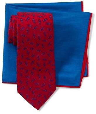 Ted Baker Scatted Dragonflies Silk Tie & Pocket Square Set