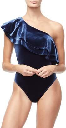 Good American The Ruffle One Shoulder Bodysuit - Navy001