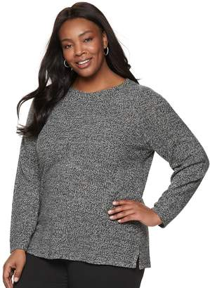 Croft & Barrow Plus Size Seed-Stitch Crewneck Sweater