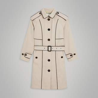 Burberry Piping Detail Tropical Gabardine Trench Coat , Size: 12Y, Beige