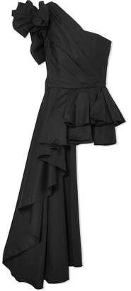Johanna Ortiz Agave One-shoulder Ruffled Cotton-blend Poplin Top - Black