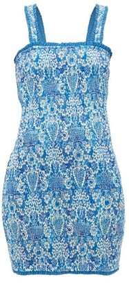 Rhode Resort Jasmine Smocked Cotton Mini Dress - Womens - Blue Print