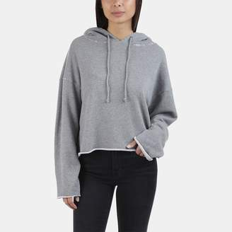 RtA Marvin Rolled Hem Cotton-Blend Cropped Hoodie