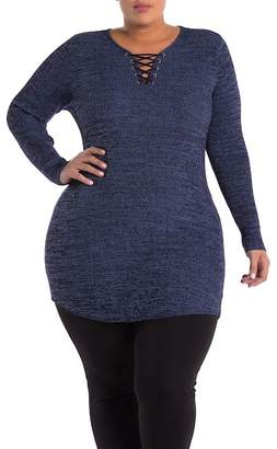 Derek Heart Lace-Up Ribbed Knit Tunic (Plus Size)