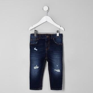 River Island Mini boys dark Blue Sid ripped skinny jeans