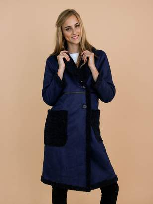 Goodnight Macaroon 'Charla' Faux Suede Shearling Coat