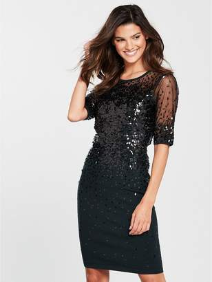 Phase Eight Orlena Oval Sequin Dress - Black