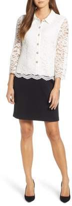 Karl Lagerfeld PARIS Mixed Media Lace Ponte Dress
