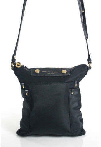 Marc By Marc JacobsMarc By Marc Jacobs Black Nylon Gold Tone Leather Accent Sia Swingpack Handbag