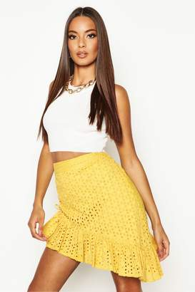 boohoo Rouched Side Broderie Anglais Mini Skirt