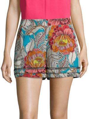 Trina Turk Bubbly Floral-Print Silk Shorts $228 thestylecure.com